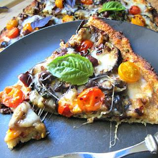 Cauliflower Crust Pizza w/ Eggplant & Tomatoes.