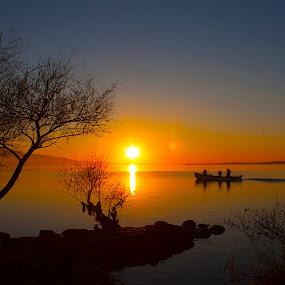 COMING-HOME by Nihan Bayındır - Landscapes Sunsets & Sunrises ( reflection, silhouette, sunset, lake, landscape,  )