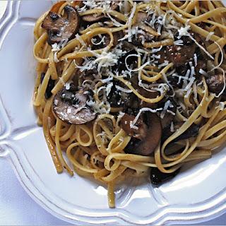 Linguine with Mushrooms and Black Garlic.