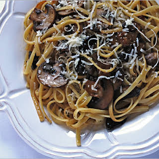 Linguine with Mushrooms and Black Garlic.