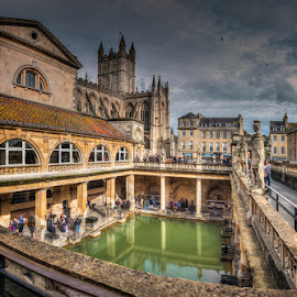 Great Bath in the Roman Bath by Krasimir Lazarov - Buildings & Architecture Public & Historical ( england, pool, bath, cityscape, architecture, ciry, united kingdom )