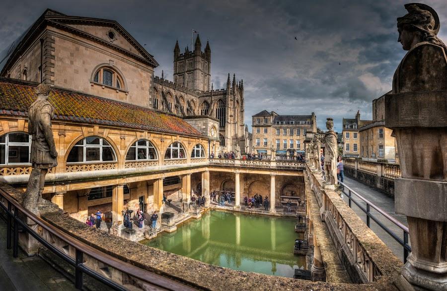 Great Bath in the Roman Bath by Krasimir Lazarov - Buildings & Architecture Public & Historical ( england, pool, bath, cityscape, architecture, ciry, united kingdom )