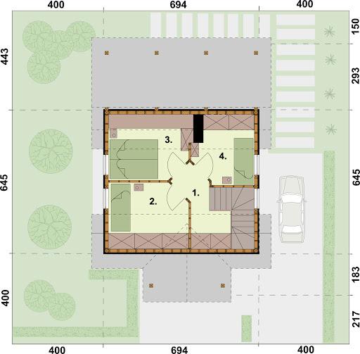 Orlean 4 szkielet drewniany dom letniskowy z poddaszem użytkowym - Rzut poddasza