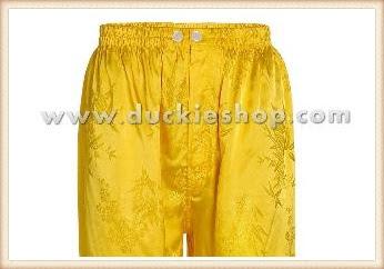 กางเกงใส่นอน ชุดนอนผู้ชายขายาวใส่สบาย ผ้าแพรจีนแท้ กางเกงแพรแท้ กางเกงแพรจีน  เอวยางสีเหลืองทอง
