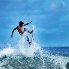 Up in the sky by Bastian AS - Sports & Fitness Surfing ( up in the sky, surfing, indonesia )