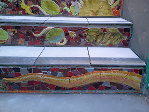 "Photo: Thirteenth full day of work (Sunday, November 13, 2013): Detail showing artists' ""signature"" at the bottom of the Hidden Garden Steps (16th Avenue, between Kirkham and Lawton streets in San Francisco's Inner Sunset District), where the 148-step ceramic-tile mosaic designed and created by project artists Aileen Barr and Colette Crutcher has been completely installed. KZ Tile workers remained on site all day to finish grouting the mosaic and the surfaces upon which visitors will walk. For more information about this volunteer-driven community-based project supported by the San Francisco Parks Alliance, the San Francisco Department of Public Works Street Parks Program, and hundreds of individual donors, please visit our website at http://hiddengardensteps.org."