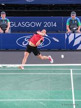 Photo: Glasgow 2014. Badminton Womens Singles Quarter Final. Michelle Li (Canada) beat Sarah Walker (England) 2:0.