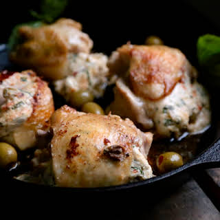Hot Pepper Olive Stuffed Chicken Thighs.
