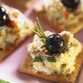 Aubergine Cream, Crackers and Olives