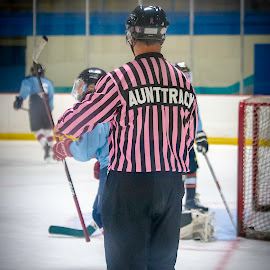 For Aunt Tracy by Todd Coleman - Sports & Fitness Ice hockey ( breast cancer awarness, hockey, pink, aunt tracy, referee,  )