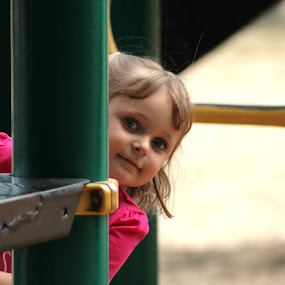 Peek-A-Boo by Stacey Fields - Babies & Children Toddlers ( playing, playground, peeking, toddler, niece,  )