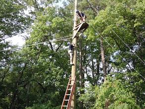 Photo: Climbing up to the Zipline Platform.