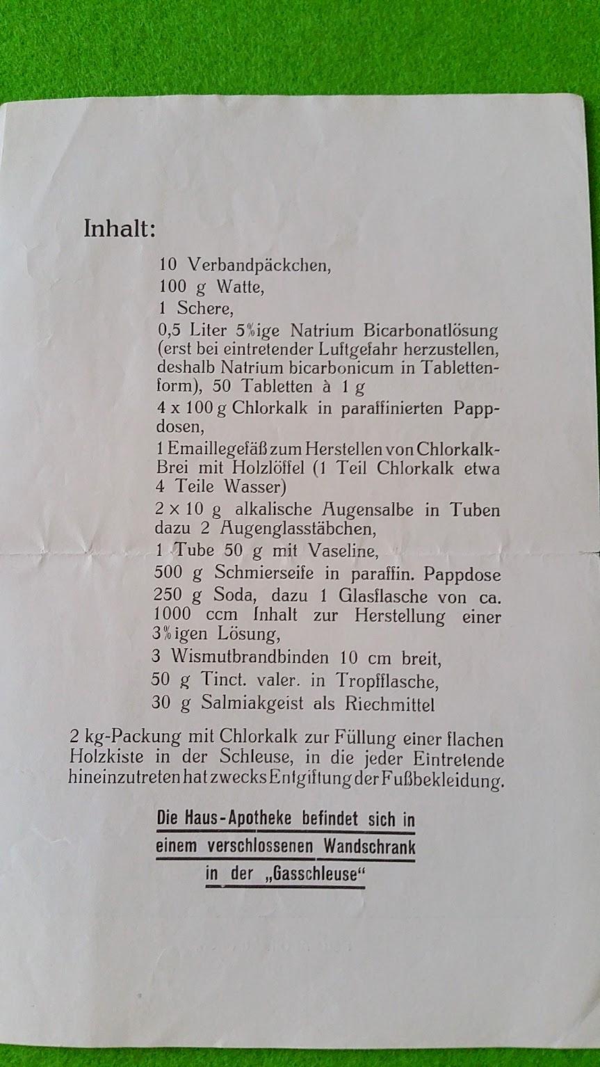 Merkblatt - Haus-Apotheke für Schutzräume - 1930er