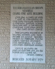 Photo: Dora Maclellan Brown Memorial Chapel plaque