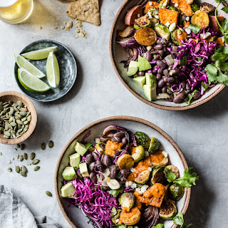 Mexican Roasted Veggie Bowls with Beer Beans.