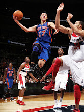 Photo: WASHINGTON, DC - FEBRUARY 8: Jeremy Lin #17 of the New York Knicks shoots against JaVale McGee #34 of the Washington Wizards during the game at the Verizon Center on February 8, 2012 in Washington, DC. NOTE TO USER: User expressly acknowledges and agrees that, by downloading and or using this photograph, User is consenting to the terms and conditions of the Getty Images License Agreement. Mandatory Copyright Notice: Copyright 2012 NBAE (Photo by Ned Dishman/NBAE via Getty Images)