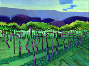 "Photo: ""Vineyard Rhythms"", acrylic on linen 12"" x 16"", © Nancy Roberts"