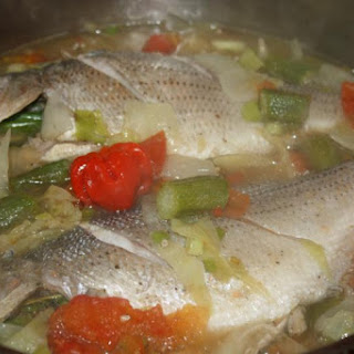 Steamed Fish With Cabbage And Ochro.
