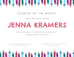 Student of the Month - Certificate item