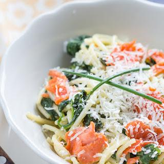Quick Creamy Salmon and Spinach Pasta.