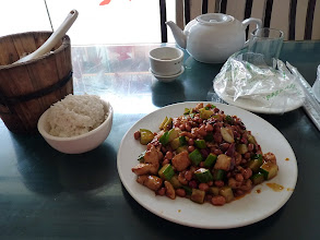 Photo: Yangshuo - Si Chuan restaurant, Furong Rd., Gumbao chicken with rice 20+2Y (probably Gongbao chicken)