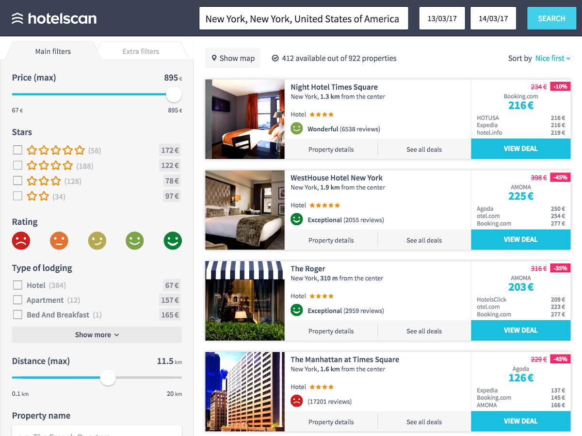 Hotelscan hotel search screenshot