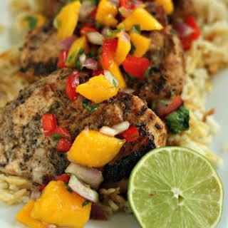Smithfield Jerk Pork Chops with Mango Salsa.