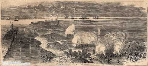 """Photo: """"Bombardment of Fort Macon"""" Harpers Weekly, May 17, l862, page 316."""