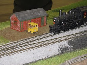 Photo: Scratchbuilt speeder shed (based on Madoc Jct. drawings)