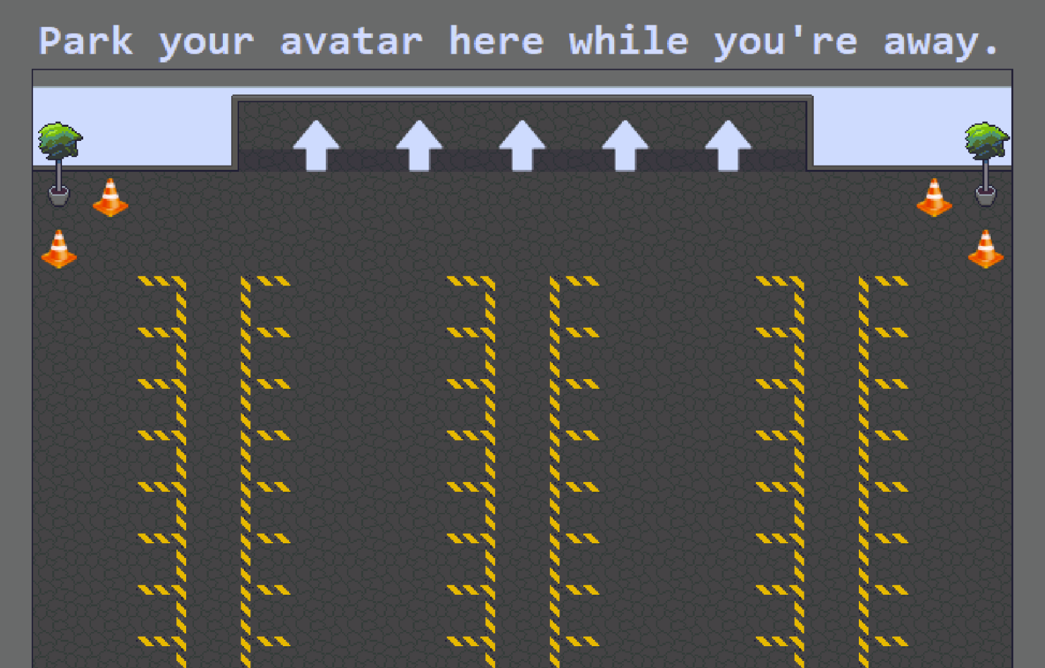 """avatar parking area in the LingComm21 Gather space: a label reading """"Park your avatar here while you're away"""" above the door, with outlines for avatar-sized parking spaces on the floor and decorative traffic cones in the corners of the room"""