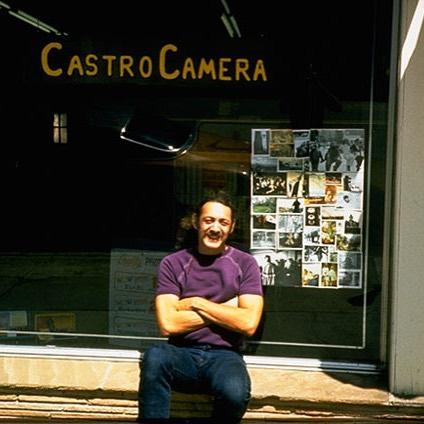 Harvey Milk in front of his shop, Castro Camera in April 1973. Photo: Scott Smith.