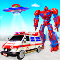 Flying Ambulance Robot Car Transform: Robot Games icon