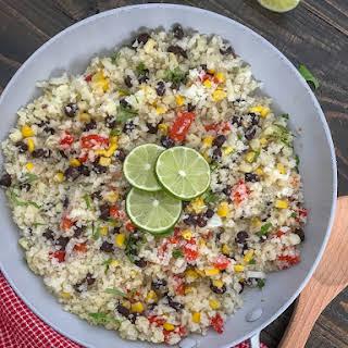 Cilantro Lime Black Bean and Corn Cauliflower Rice.
