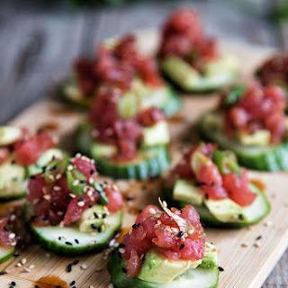 Spicy Tuna And Cucumber Bites.