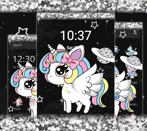 Glitter Galaxy Cute Rainbow Unicorn Theme 1.1.1 screenshots 4