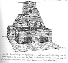 Photo: Here you see a sketch of set kettles, or as they came to be known in England, coppers. Large metal pots were set into brick. A fire would burn below, the bricks would heat. They were used to boil water for cooking or washing. Large pots of soups and stews would also simmer in them. They were invented by an American loyalist, Benjamin Thompson, who later fled to England. He is better known as Count Rumford.