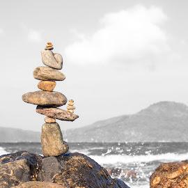 Stone Pile by Rqserra by Rqserra Henrique - Artistic Objects Still Life ( fineartphoto, minimal, minimalism, balance, primitive, contemporary, minimalist, fineart, landscape, rqserra, stone,  )
