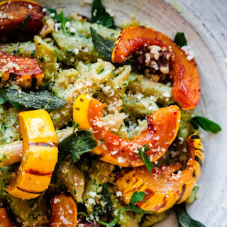 Whole Wheat Pasta with Walnut-Sage Pesto and Roasted Delicata Squash