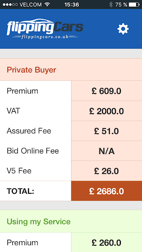 Car Auction Fee Calculator screenshot