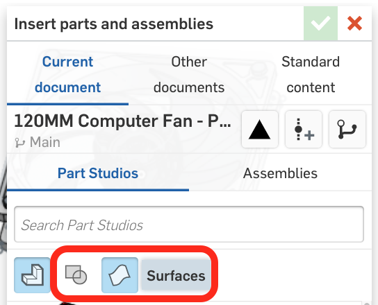 This screenshot shows you how to insert sketches and surfaces in an Onshape Part Studio.