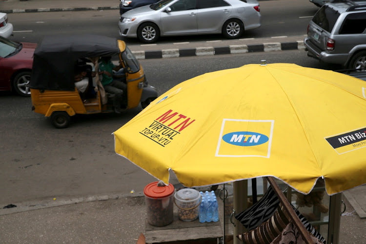 The MTN logo adorns an umbrella in Lagos, Nigeria. Picture: REUTERS