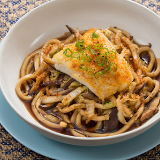 Seared Cod & Udon Noodles with Cabbage & Shiitake Mushroom Broth.