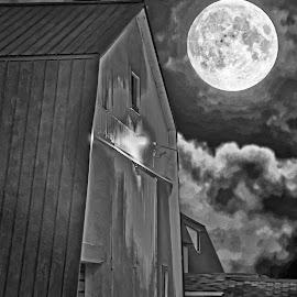 by Bill Diller - Digital Art Things ( digital, full moon, moon, michigan, barn, farm, barns, black and white, clouds, farmland, farm scene )
