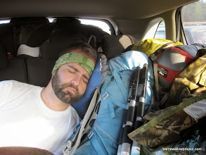 Photo: Matt passed out in the back on the way to the field station, (3, read 6, hours) north of Moscow