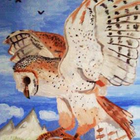 Acryl, Schleiereule, ca 5 std, 20 x 30 by Michaela Silvia - Painting All Painting