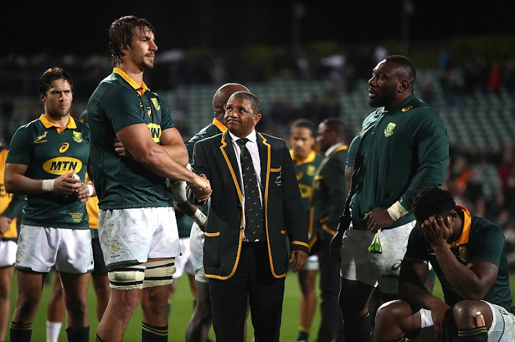 Springboks looking dejected after defeat to All Balcks in Australia.