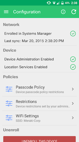 Meraki Systems Manager Screenshot