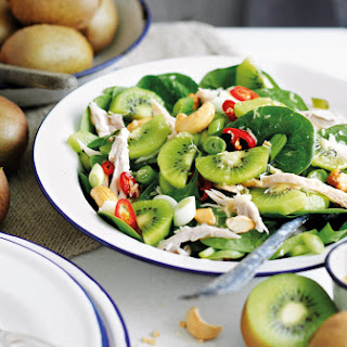 Leftover Roast Chicken Salad with Kiwi and Cashews.