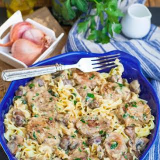 Creamy Pork Marsala Noodles.