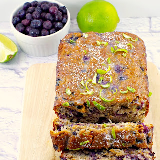Blueberry Gingerbread Loaf with Fresh Lime Glaze.